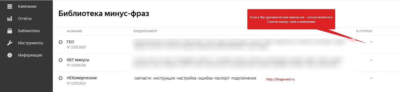 Библиотека Минус Фразы Яндекс Директ 2020